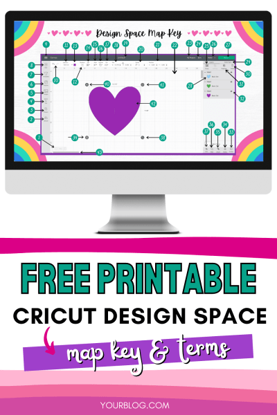 Free printable Cricut Design Space map key and terms to help beginner's learn how to use Cricut design space