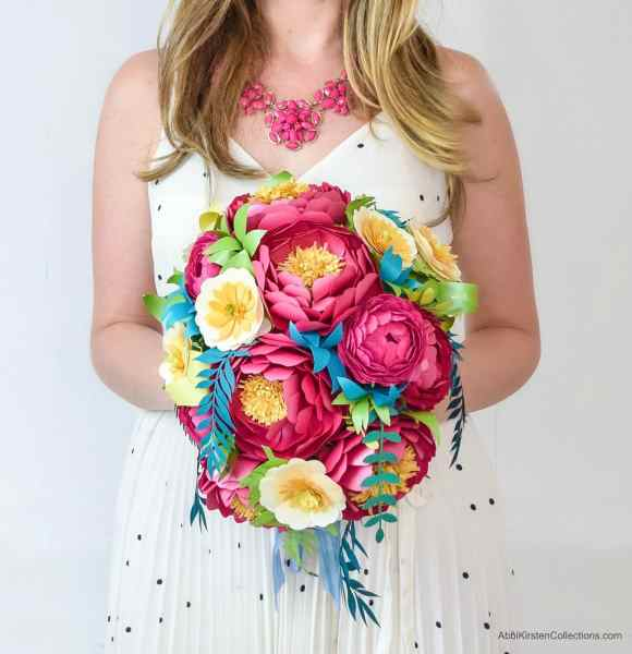 Full bloom and classic peony cascading paper flower bouquet.
