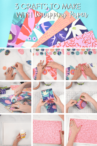 3 crafts to make with wrapping paper. Use wrapping paper for more than just gifts. Wrapping paper can be used for crafting banners, decorating your home and much more.
