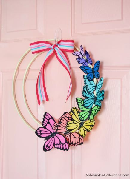 Paper butterfly wreath project for Spring home decor.