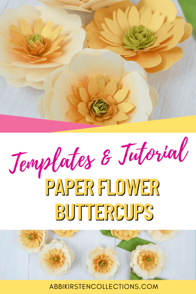 Create simple paper buttercup flowers easiest for beginners and kids. Download the SVG cut files and printable templates to make your own.