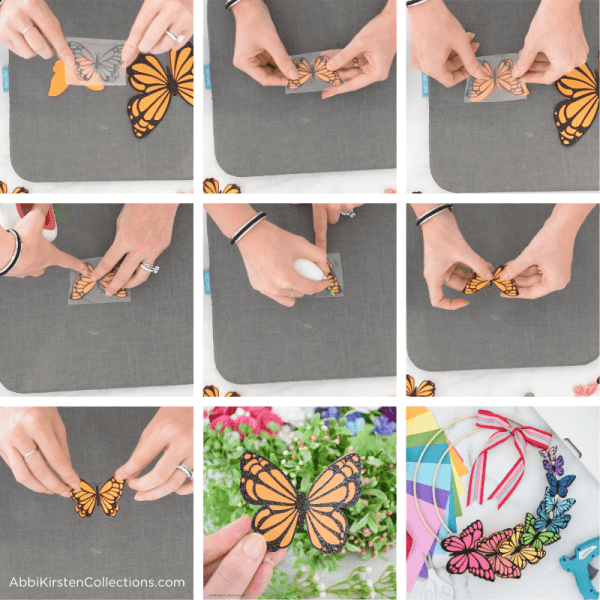 How to make paper butterflies with cardstock paper and iron-on HTV.