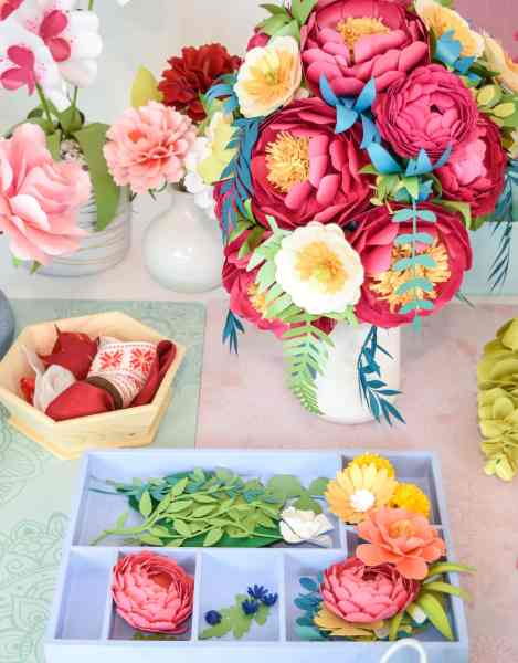 How to stem a paper flower and make a paper flower bouquet.