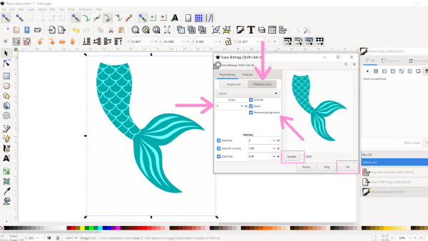How to trace clipart in Inkscape.