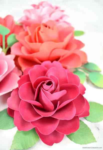 Paper flower rose tutorial with templates.