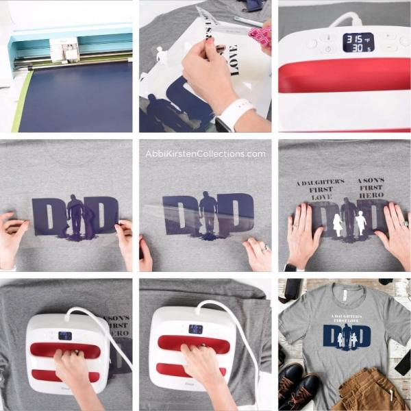 Layering iron-on heat transfer vinyl  with your Cricut machine for beginners.