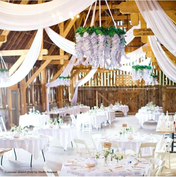 White hanging flower chandelier craft