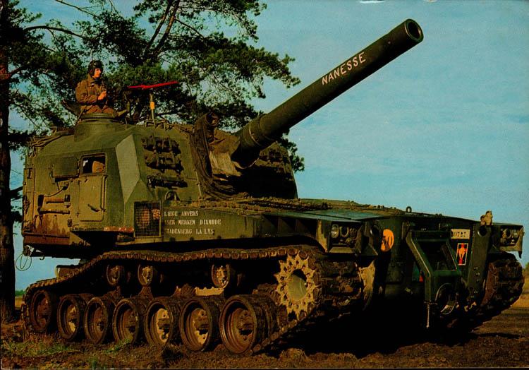 obusier automoteur m 55 8 203 mm zelfbewegende houwitser 1962 1972 arm e belge belgisch leger. Black Bedroom Furniture Sets. Home Design Ideas