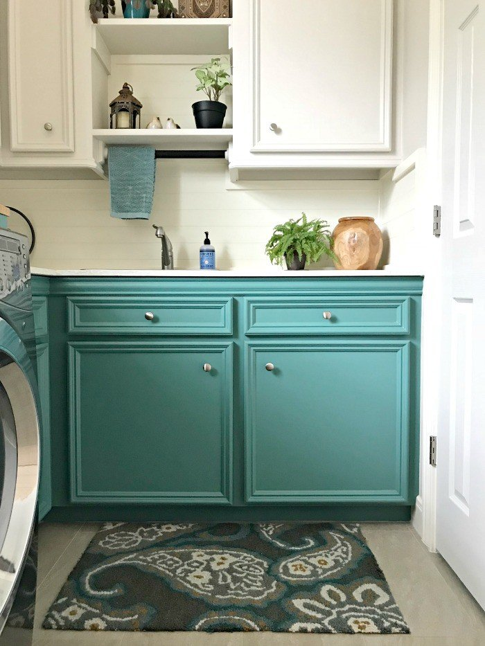 Colorful Laundry Room Makeover - Teal Cabinets, guys ... on Small Laundry Room Cabinets  id=53322