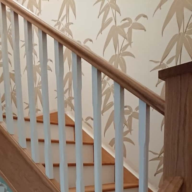 Painted Stained Staircases And Staircase Renovations | Banister Rail And Spindles | Square | Traditional | Carved Wood | Residential | Glass