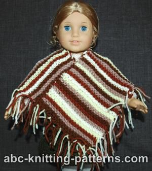 American Girl Doll Easy Garter Stitch Poncho from Leftover Yarn
