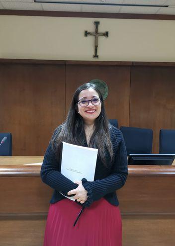 Mariela Gauto, primera paraguaya doctora en Derecho Canónico.