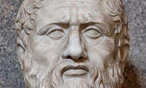 Los grandes filósofos de la historia, reunidos en una gran biblioteca