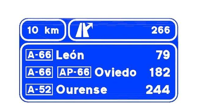 Cartel con la señalización de salida hacia capitales de provincia