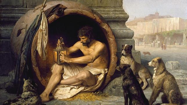 «Diogenes sentado en su tinaja», cuadro de Jean-Léon Gérôme (1860).