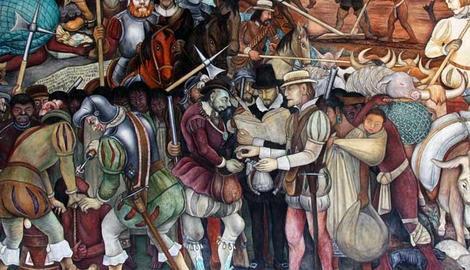 Mural de Diego Rivera en el Palacio Nacional de Mexico