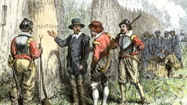 Los ingleses descubren la palabra «Croatoan» en la colonia. El misterio, a día de hoy, continúa