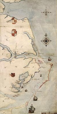 Mapa elaborado por John White de Virginia. En él destaca la isla de Roanoke