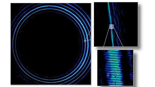 Imagen de los complejos pulsos de luz enviados, formados por fotones de elevados números cuánticos