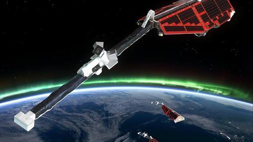 Satélites Swarm de la ESA. Su función es analizar el campo magnético en el interior de la Tierra