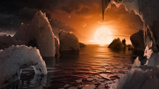 Posible aspecto de un exoplaneta de Trappist-1. Hasta que no se analice la atmósfera de uno de estos planetas, imágenes como esta son meras elucubraciones