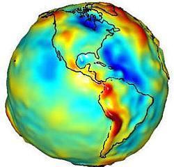 Mapa de gravedad en la Tierra. Las partes más azules tienen menos gravedad y las rojas más