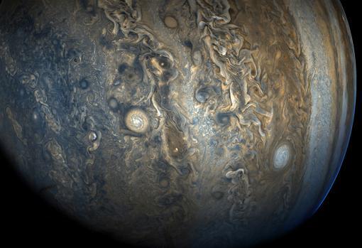 Imagen del hemisferio sur de Júpiter. Se puede apreciar la complejidad del movimiento del gas de su atmósfera