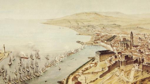 Vista de Málaga, grabado de Alfred Guesdon, 1852