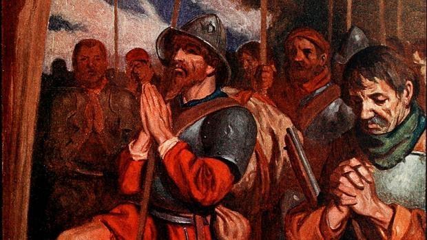 Los conquistadores oran antes de la entrada a Tenochtitlan