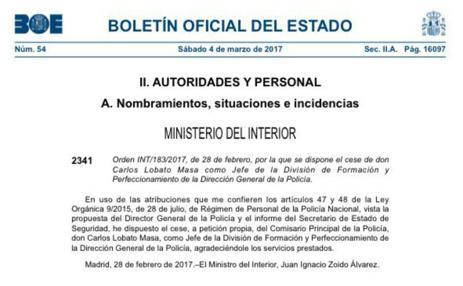 Imagen de la resolución del cese de Carlos Lobato publicada en el BOE