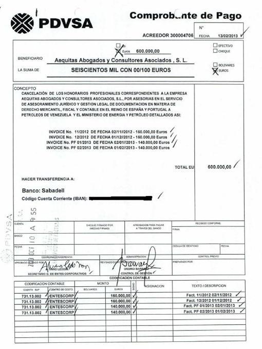 Orden de pago de PDVSA al despacho de Morodo por 600.000 euros en cuatro facturas