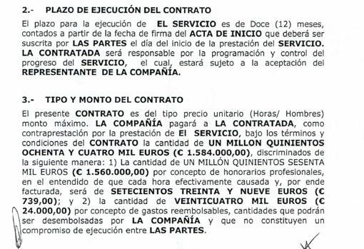 Detalle del contrato en el que se establecen 739 euros por cada hora de trabajo
