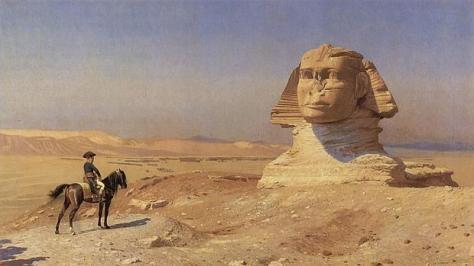 Napoleón contemplando la Gran Esfinge, semienterrada por las arenas del desierto. Óleo de Jean-Léon Gérôme