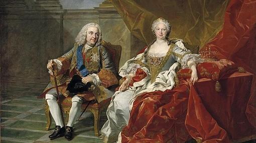 Detalle del cuadro la familia de Felipe V, de Louis Michel van Loo