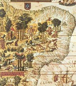 Mapa de Brasil, colonia portuguesa en América del Sur. 1519.