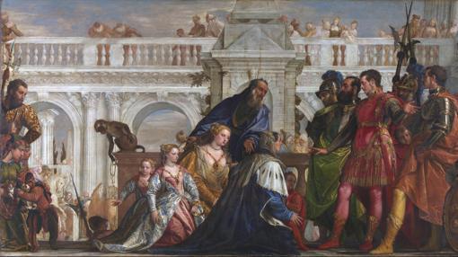 Familia del Rey persa ante Alejandro Magno y su amigo Hefestión tras la batalla de Issus.