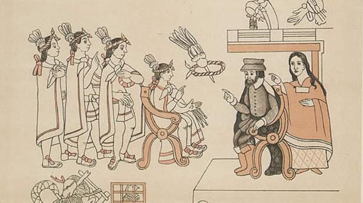 Hernán Cortés y doña Marina con Moctezuma en Tenochtitlan