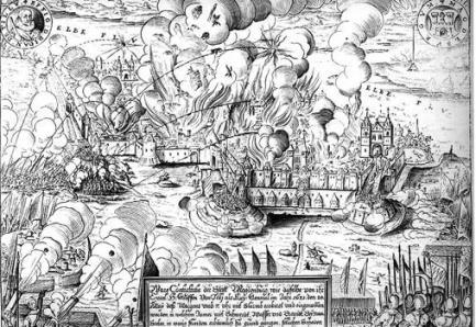 Grabado del saco de Magdeburg por Matthäus Merian.