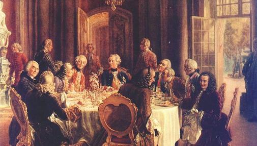 La corte del rey Federico junto al duque Hermman von Fernand y Voltaire.