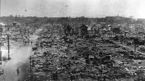 Vista de Tokio en 1945 tras el bombardeo