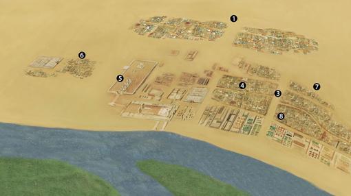 Recreación en detalle de la ciudad de Amarna
