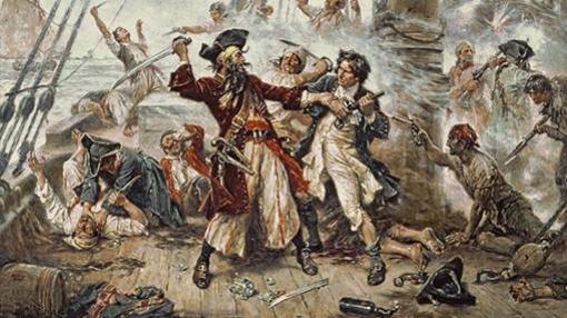 Combate entre «Barbanegra» y Robert Maynard, enviado para matarle