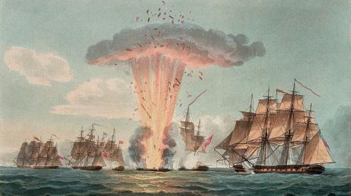 Ilustración de 1804 que muestra la explosión de la «Mercedes»