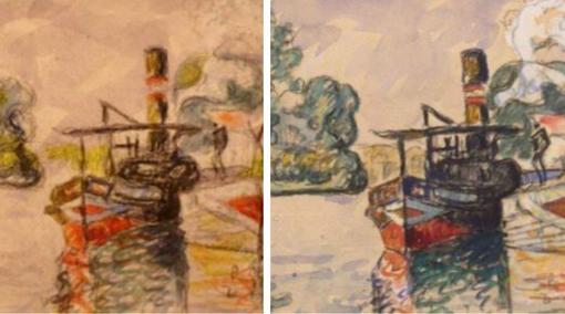 A la izquierda la copia de Mark Landis; a la derecha una acuarela de Paul Signac