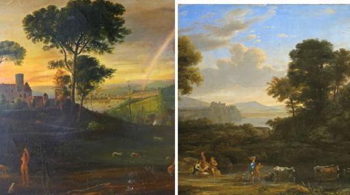 A la izquierda, un cuadro de Eric Hebborn del estilo Claude Lorrain. A la derecha, un cuadro de Claude Lorrain