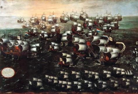 Vista de la batalla de Pernambuco en un cuadro de la época. Hoy, expuesto en el Museo Naval