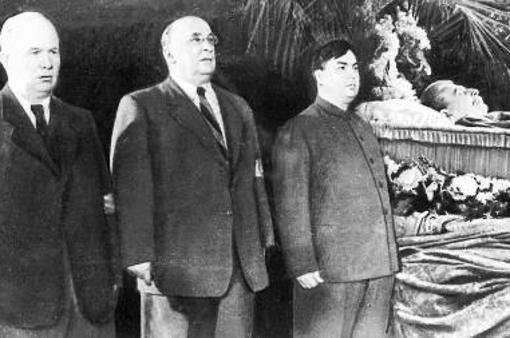 Imagen los grandes líderes soviéticos en el funeral de Stalin