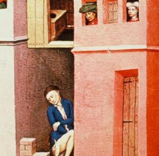 Representación de las letrinas en un cuadro de la época