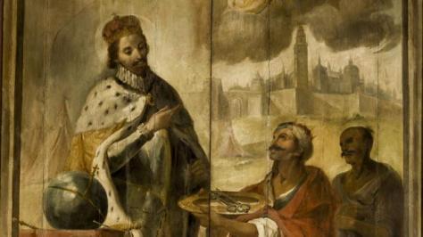 Tabla que muestra a Axataf entregando a Fernando III las llaves de Sevilla, una ciudad que conquistó una década después de Córdoba