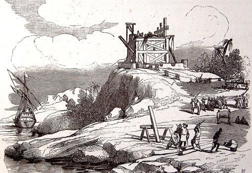 Construcción de La Navidad en un grabado realizado para edición de 1851 de Gaspar y Roig
